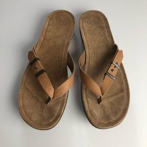 UGG Australia Sela Suede Sandal Flip Flops New 10